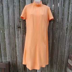 Vintage Tangerine Woven Polyester Dress
